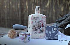 Decoupage Garrafa decorativa Frasco para uma vela (por ex.) Mini album para recordações