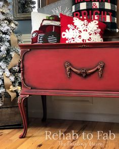 Cedar chest painted by Rehab to Fab in Dixie Belle Paint Red Barn.