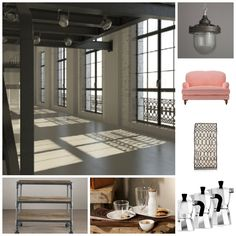 Manhattan loft inspiration.. love the pink sofa