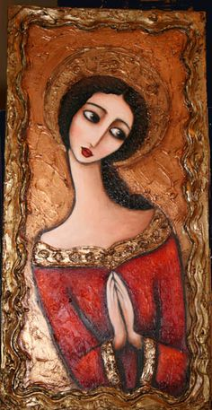 Wendy Ryan Folk Art: Another Madonna Icon in Gold and Red Painting Madonna, Angel Art, Whimsical Art, Religious Art, Figure Painting, Face Art, Art Blog, Mixed Media Art, Art Drawings