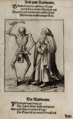 G24 - L'Ermite. Danse macabre du couvent des dominicains de Bâle (Suisse) (v. 1440). Gravure de Matthaeus Merian (1621).
