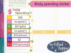 Daily spending tracker! A space you write down a summary of what you spend in a week without interfering with your daily planning. The dimension