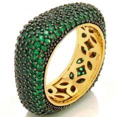 Anel Semi-joia Quadrado Zircônias Verdes