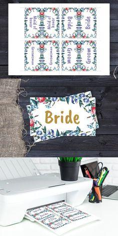 Eustoma Wedding Place cards DiY. Invitation Templates