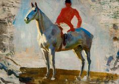 Study of a Horse with Huntsman up - Alfred James Munnings