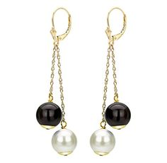 14k Yellow Gold 885mm White Freshwater Cultured Pearl 8mm Simulated Black Onyx Leverback Earrings *** You can get additional details at the affiliate link Amazon.com.