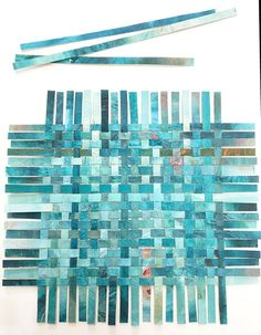 Turquoise Paper Weaving- Abstract Art- Woven Paper- Acrylic and Watercolor Paper Weaving, Weaving Art, Fabric Weaving, Construction Paper Art, Diy Paper, Paper Crafts, Free Paper, Fun Craft, Paper Collage Art