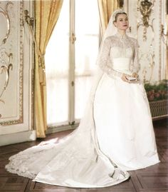 """Religious Wedding - April 19, 1956. - """"I explained to Helen (Helen Rose, the designer) the kind of line and look I wanted, with gros de longre skirt and lace blouse, and, as usual, she came up with something that far surpassed my imagination and hopes."""" ~ HSH Princess Grace of Monaco - """"She is a dream to work with (Grace Kelly)… I showed her two sketches of the final design and she chose the one she wanted. That was all there was to it."""" ~ Helen Rose, designer"""