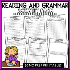 Reading and Grammar Pack - No Prep Printables by Pink Tulip Teaching Creations Grammar Activities, Learning Activities, Nouns And Verbs, Fact And Opinion, Third Grade Reading, Reading Specialist, Home Learning, Phonics, Sentences