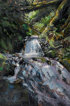 """""""Refreshed"""" waterfall painting by Karen Whitworth. Feel the cool mist as you look upstream towards this cascading waterfall. Sunlight pierces the dense canopy and illuminates the water as it tumbles over the moss covered rocks. Such peace and excitement. Available as Prints, Posters, Pillows, Bedding, Shower Curtains, Phone Cases, and more! Get yours here: http://fineartamerica.com/featured/refreshed-a-cool-forest-stream-karen-whitworth.html"""