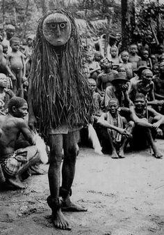 'Okanku' masquerade. Mask called 'Otili'.  Cross River Ibo. Ohaffia tribe.  photo taken by Dr.G.I.Jones 1931