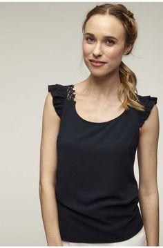 Top sans manches detail volants et dentelle epaule bleu marine - tee-shirts  femme - c8eb0a06957