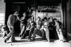 All Australian Graffiti members, 1977. Geoff Cook, Izi Marmur, Tony Ward, Neil Curtis, Mimmo Cozzolino, Meg Williams and Con Aslanis. Photo: Bob Bourne.