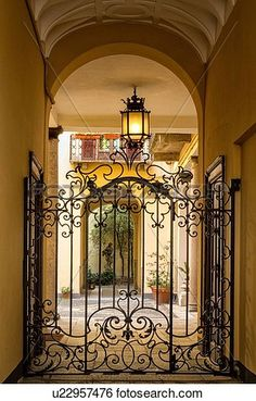 Milan Fashion District: palazzo entranceway with stucco arched ceiling, beautiful wrought iron gate and attractive courtyard beyond, Milan, Italy View Large Photo Image Wrought Iron Decor, Wrought Iron Gates, Palazzo, Grades, Front Gates, Iron Work, Gate Design, French Cottage, French Country Style