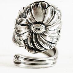 Ornate Spoon Ring Art Nouveau Daisy by Baker by Spoonier on Etsy