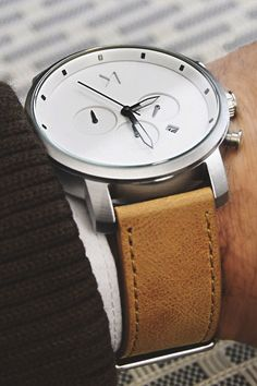 """The White Chrono from MVMT Watches. Check out all the models on their website. Click the link and use the coupon """"themanliness"""" for $10 off your order! Photographer! Join the MVMT"""