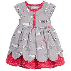 Deux Par Deux Grey & Red Dog Print Dress & Knickers Set at Childrensalon.com