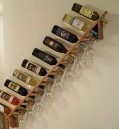 Wine Rack Decor - More Wine Rack Decor ideas Wall Mount Wine Bottle Rack 5 Pieces Set Wooden G… in 2019 Wine Rack Wall, Wood Wine Racks, Wine Glass Holder, Diy Wine Racks, Wine Rack Design, Pallet Wine, Diy Pallet Projects, Bars For Home, Farmhouse Decor
