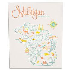 "Michigan Letterpress Print 8"" x 10"" : Neighborly"