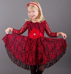Girls Black & Red Lace Long Sleeve Lace Audrey Twirl Dress