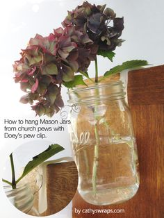 Church Pew Clips hang Mason Jars, Ribbons, Bows, Flowers - Wedding & Aisle Marker Church Aisle Pew Clips. 12 pew hooks. $14.00, via Etsy.