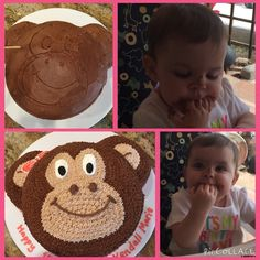 Monkey girls birthday cake! I made this cake for my beautiful niece - I think she liked it! I started by lightly frosting the cake to make a base and then tracing my general outline with a toothpick! I gave this monkey a bow to make it for a girl but you could do with out to make it for a boy!