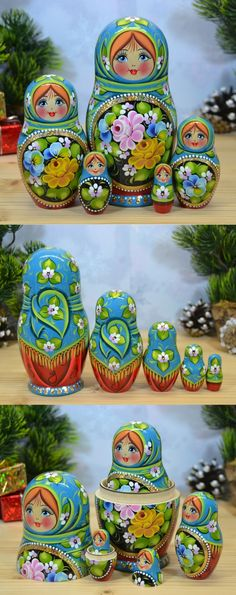 Russian nesting doll in turquois shawl hand painted by artist Nadezhda Tihonovich. Find more gorgeous matryoshka dolls at: www.bestrussiandolls.etsy.com