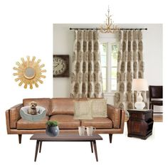 """Living Room"" by mandeerose ❤ liked on Polyvore featuring interior, interiors, interior design, Casa, home decor, interior decorating, Pottery Barn, John-Richard, DwellStudio e Worlds Away"