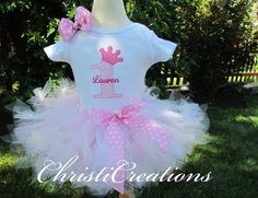 1st Birthday Pink Princess Custom Boutique Birthday Petti Tutu and Onesie Set Personalized. $55.00, via Etsy.