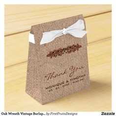 Oak Wreath Vintage Burlap Wedding Thank You Party Favor Boxes