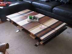 Coffee table built with 4 different kinds of solid wood: Maple, Jatoba, Wenge and Zebrano | CustomMade.com