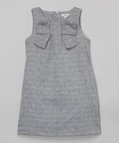 Blue Chambray Bow Shift Dress - Girls #zulily #zulilyfinds