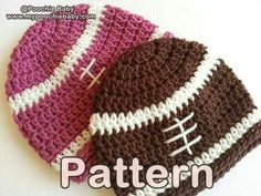 Crochet football caps