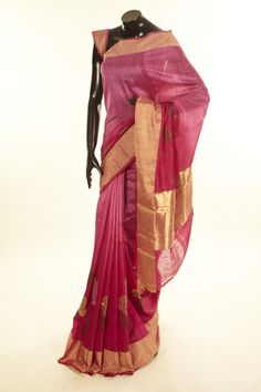 Banarsi- dupion fuschia pink light lavender pink saree with blouse