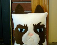 Grumpy cat pillow, plush, throw pillow, room decor