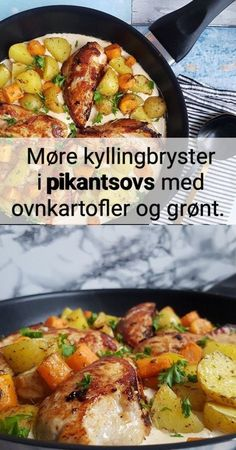Kylling i pikantsovs med ovnkartofler. Food N, Food And Drink, I Love Food, Good Food, Great Recipes, Dinner Recipes, Fast Dinners, Cooking Recipes, Healthy Recipes