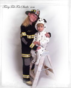 Fireman Theme | Fire Fighter Girl and Baby Brother in a Dalmation Costume | Sister | Siblings Portrait Poses | Photo Idea | Photography | Cute Kid Pic | Baby Pics | Posing Ideas | Kids | Children | Child | ~Bountiful Utah Photographer close to Salt Lake City | Ogden | Provo UT~