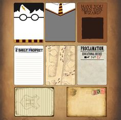 One of SYT's newest creations.in wizarding theme. - One of SYT's newest creations…journaling cards…in wizarding theme…. Harry Potter Scrapbook, Harry Potter Journal, Harry Potter Planner, Classe Harry Potter, Harry Potter Printables, Disney Scrapbook, Scrapbook Paper, Party Harry Potter, Deco Harry Potter
