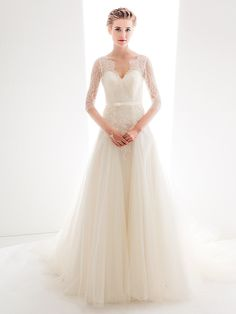 Wedding Dress A Line Court Train Lace And Tulle Queen Anne Neckline Bridal Gown With Sash | LightInTheBox