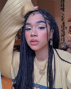 box braids braiding hair #boxbraids #braidinghair Long Curly Hair, Curly Hair Styles, Natural Hair Styles, Cool Braid Hairstyles, Girl Hairstyles, Xpression Hair, Braids For Black Hair, Aesthetic Hair, Aesthetic Makeup