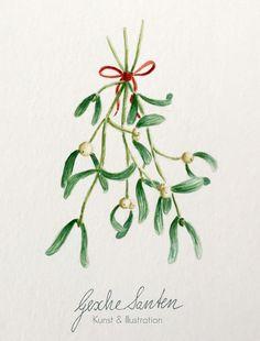 Mistel Aquarell - Traditionelles Wintergrün und seine Bedeutung | Gesche Santen