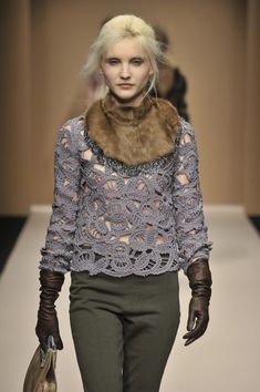 Haute Fall 2010, crochet d'autore - freeform croquet lacy jumper top