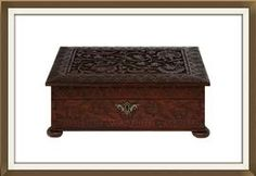 Beautiful Antique Carved Rosewood Jewellery Box  £275