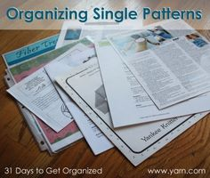 31 Days to Get Organized: Organizing Your Single Knitting and Crochet Patterns
