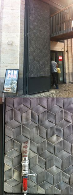 The pattern on these doors are made with old firehose - 9GAG