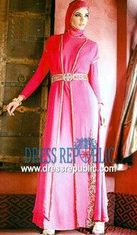pink gold abaya