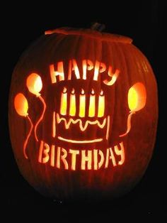 Every Halloween inspired Birthday need a carved pumpkin! && This one with Happy Birthday is just love - I'm also thinking of Carving one with my son's name and a Number one (since this will be his first birthday).