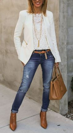 #fall #outfits women's white blazer and distressed blue denim fitted jeans