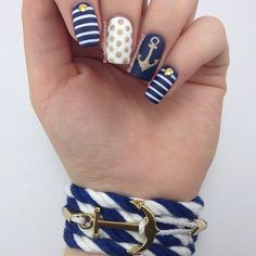 Navy Blue and White Nautical Nails With Gold Anchor⚓