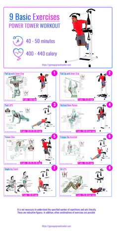 Power Tower Workout Routine for Beginners (Ultimate Guide - 9 best exercises for a quick workout at home. Burn 440 calories in 50 minutes. Beginner Workouts, Effective Ab Workouts, Workout Routines For Beginners, Home Exercise Routines, Fitness Routines, Fun Workouts, At Home Workouts, Power Tower Workout, Quick Workout At Home